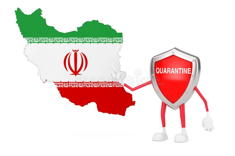 Cute Cartoon Red Metal Medical Shield Mascot Person Character with Quarantine Sign and Iran Map and Flag. 3d Rendering. Cute Cartoon Red Metal Medical Shield stock illustration