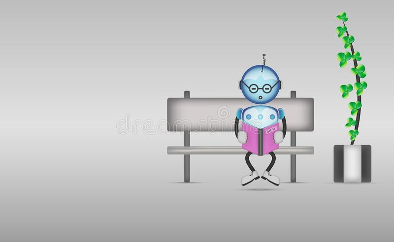 Cute cartoon robot is reading book sitting on the bench. stock illustration
