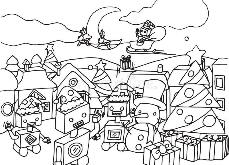 Cute cartoon robots on christmas coloring page. A group of robots are celebrating Christmas coloring page。 Christmas is one of those holidays that just royalty free illustration