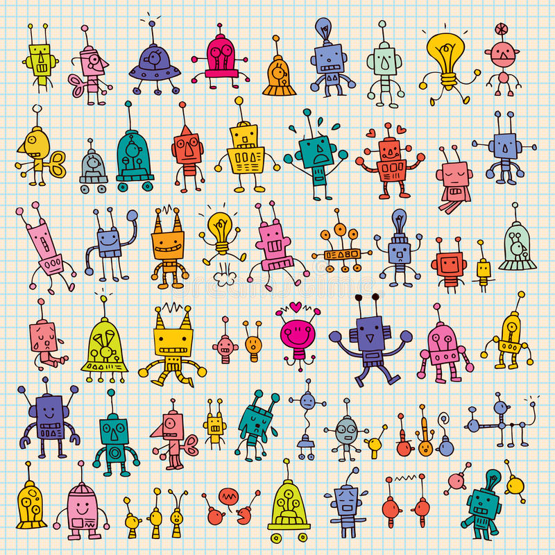 Cute cartoon robots set stock illustration