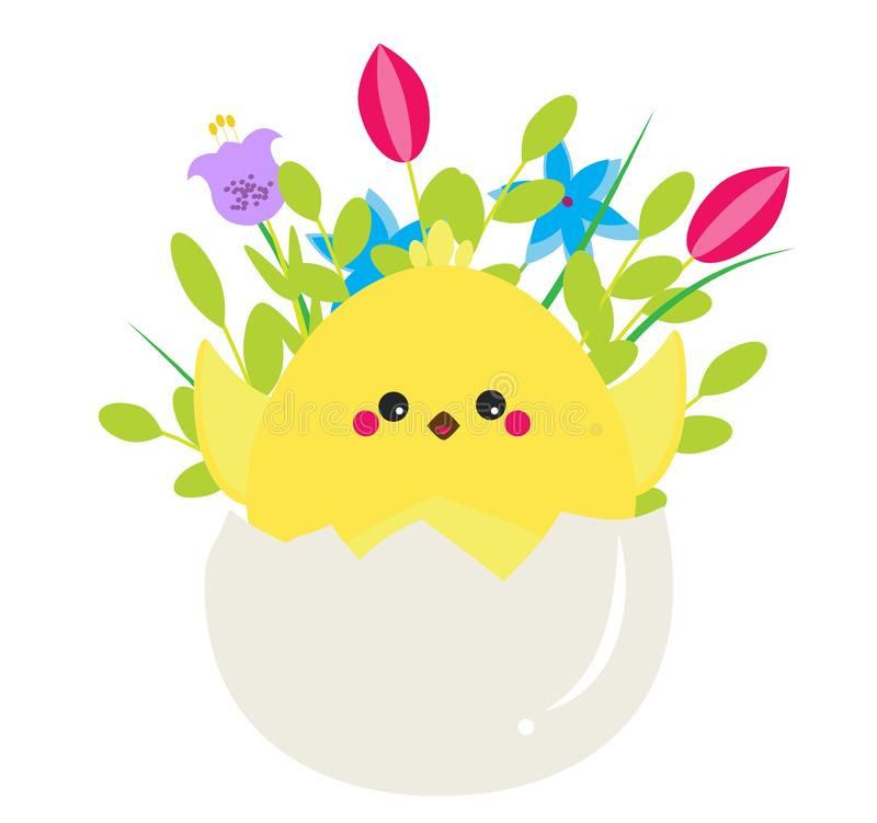 Cute cartoon rooster chicken sitting in Egg with flowers. Isolated clip art for Easter design and seasonal greetings royalty free illustration