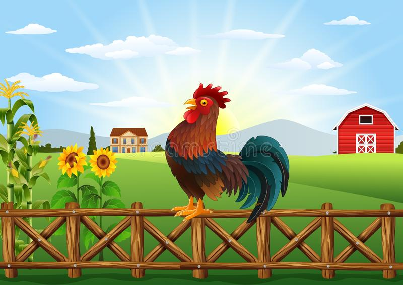 Cute Cartoon Rooster Crowing In The Farm Fence Stock