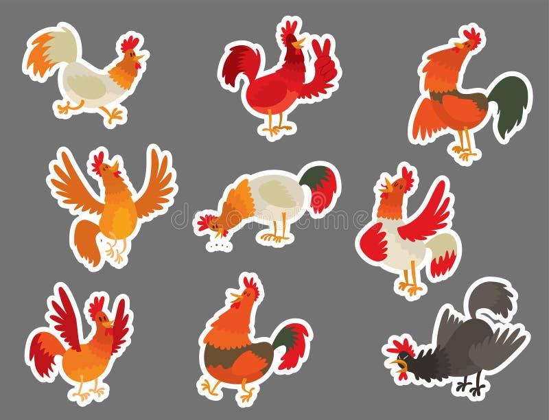 Cute Cartoon Rooster Vector Illustration Chicken Farm