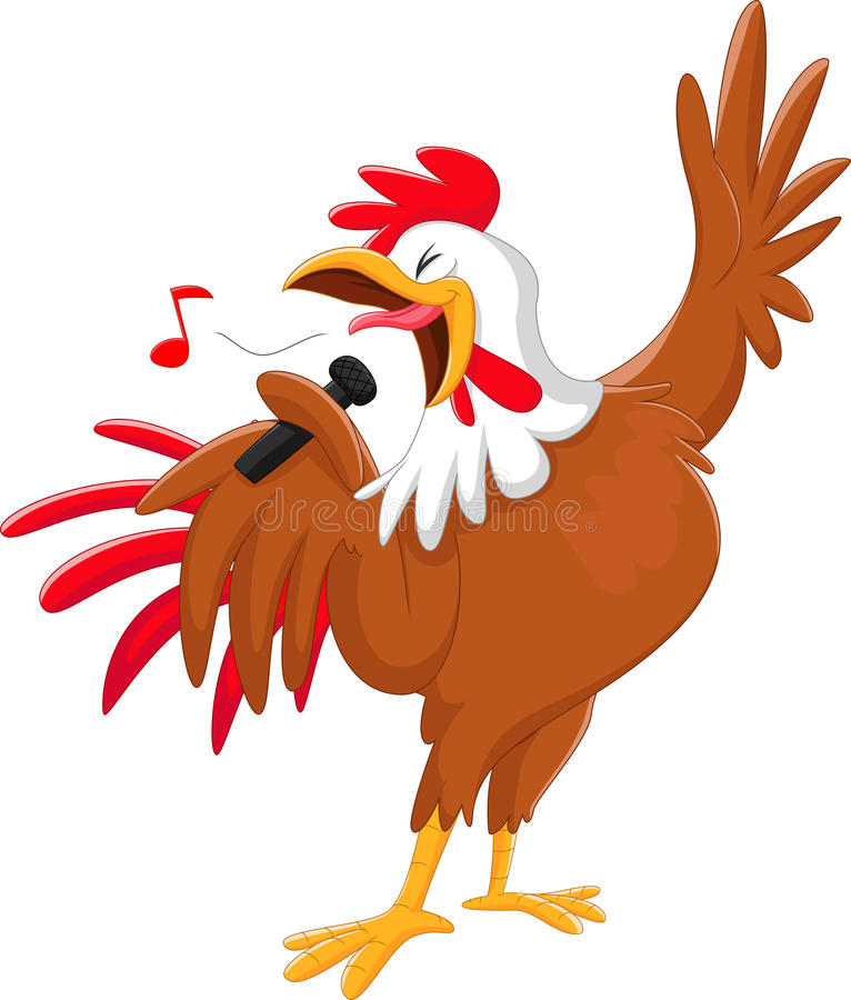 Cute cartoon rooster singing a song. on white stock illustration