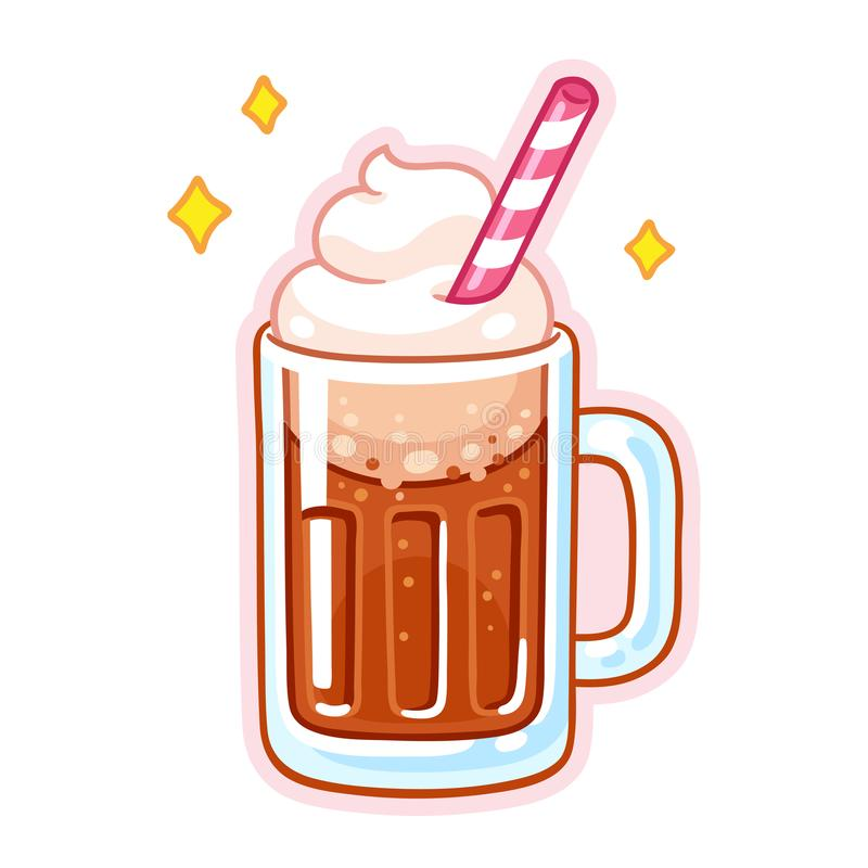 Root beer float. Cute cartoon root beer float illustration. Mug of root beer with ice cream, whipped cream and drinking straw stock illustration