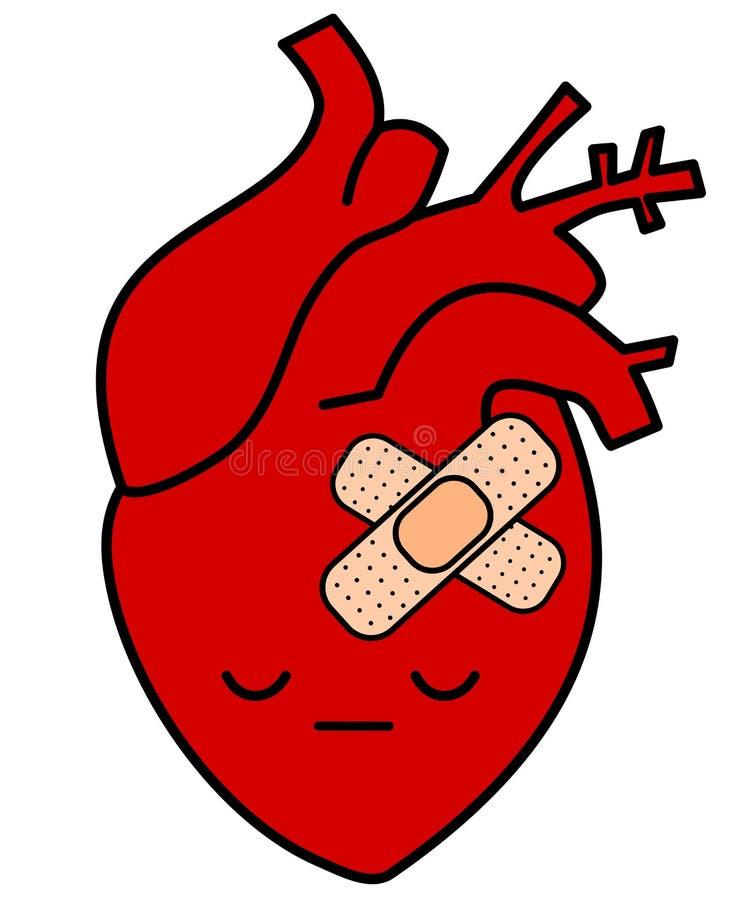cute cartoon sad human heart with plaster concept illustration stock rh dreamstime com human heart cartoon picture Human Heart Clip Art