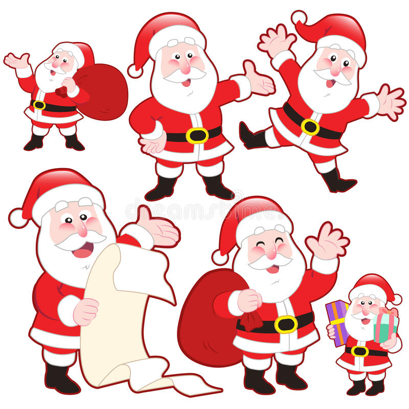 Download Cute Cartoon Santa Claus Collection Stock Vector - Illustration of shoes, cartoon: 32290487