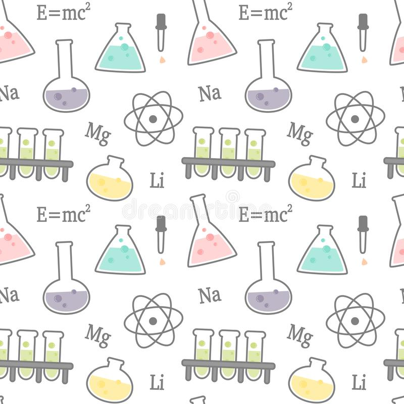 Cute cartoon science and chemical related seamless vector pattern background illustration vector illustration