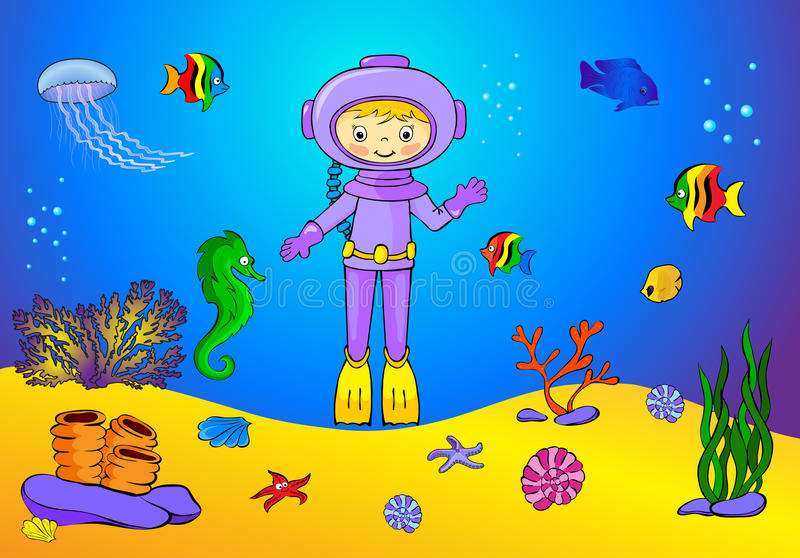 Cute cartoon scuba diver and fish under water. Seahorse, jellyfish, coral and starfish on the ocean floor. vector illustration