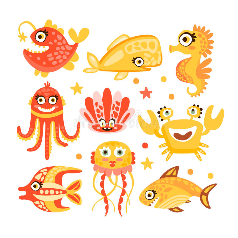 Cute cartoon sea creatures, marine life. Underwater world set of colorful characters vector Illustrations royalty free illustration