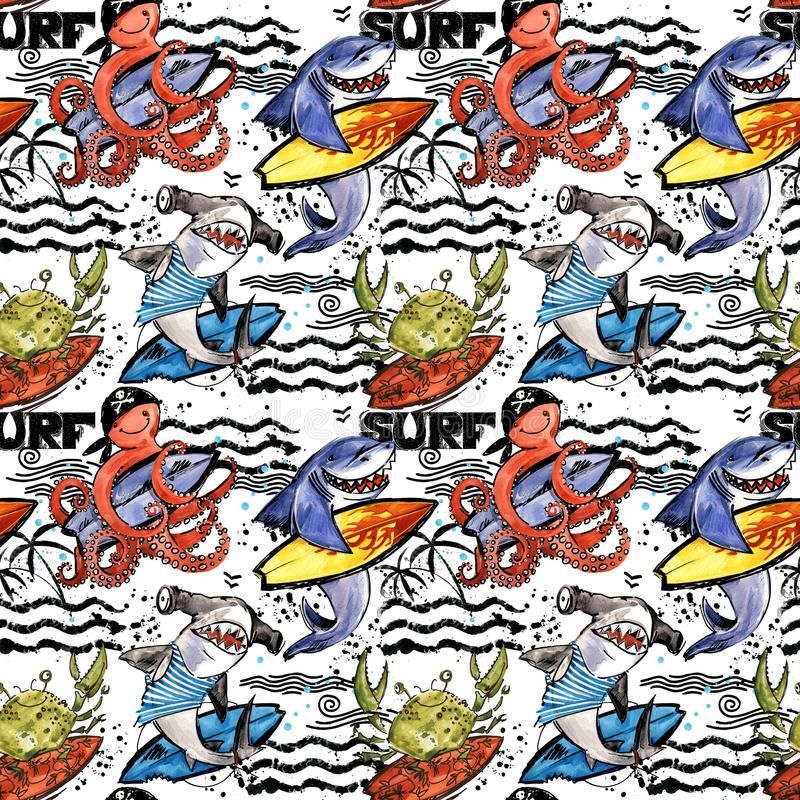 Cute cartoon sea fish seamless pattern. vintage surf background. Shark. octopus. crab. surfing vector illustration