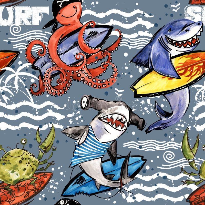 Cute cartoon sea fish seamless pattern. vintage surf background. Shark. octopus. crab. surfing stock illustration