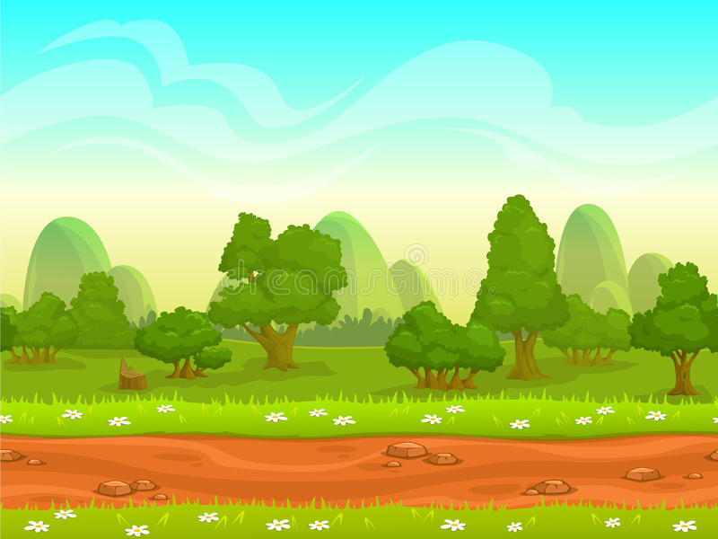 Cute cartoon seamless landscape royalty free illustration