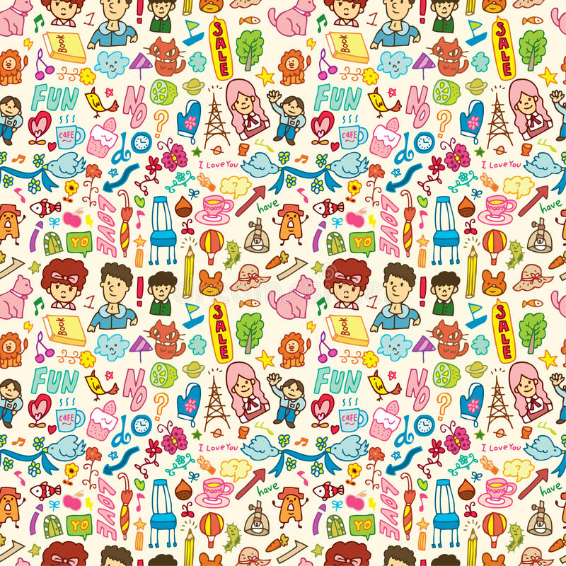 Download Cute Cartoon Seamless Pattern Stock Vector - Image: 16794235