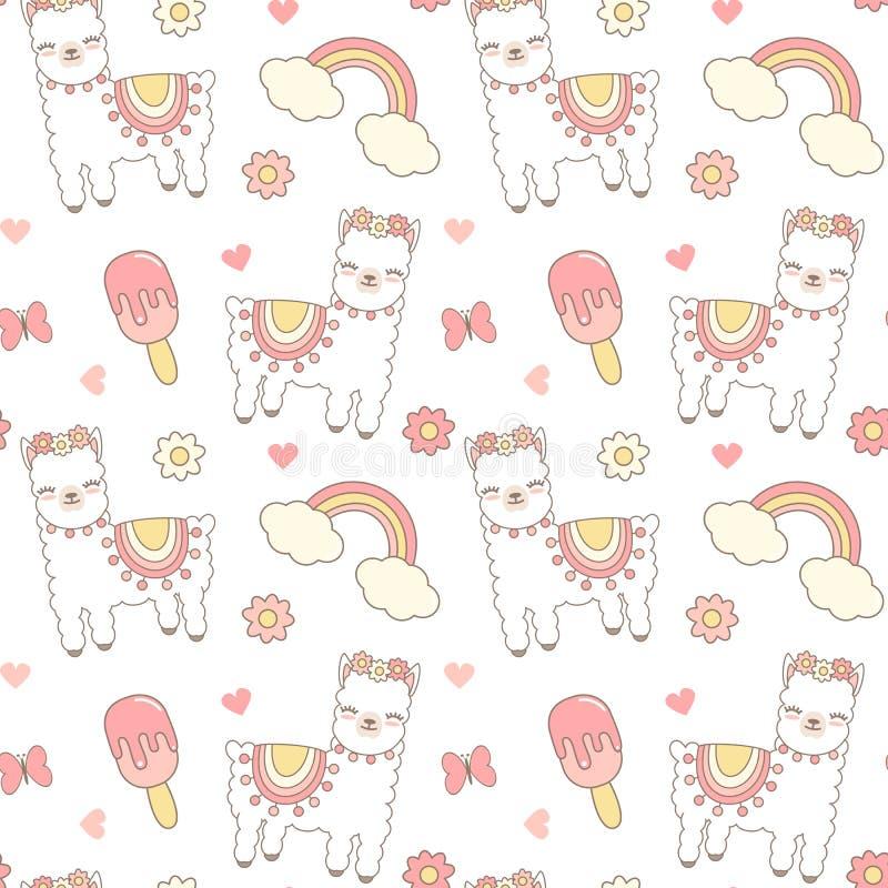 Cute cartoon seamless vector pattern background illustration with lama alpaca, ice cream, rainbow, hearts, flowers and butterflies stock illustration