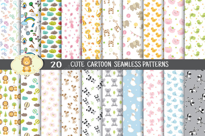Cute cartoon seamless patterns, pattern swatches included royalty free illustration