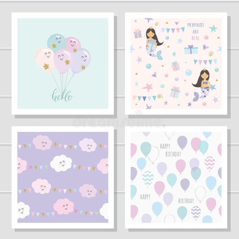 Cute cartoon seamless patterns and templates set. For kids clothes, pajamas, birthday or baby shower design. vector illustration
