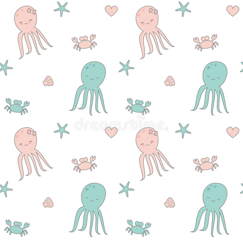 Cute cartoon seamless vector pattern background illustration with octopus, shell, heart, crab and starfish stock illustration
