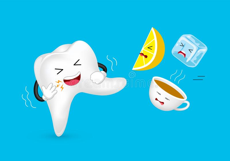 Cute cartoon sensitive tooth character attacking food and drink. stock illustration
