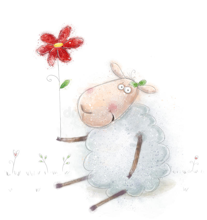 Cute cartoon sheep with the red flower. Valentines greeting card. Happy birthday card. Mothers day card.Congratulations. stock illustration