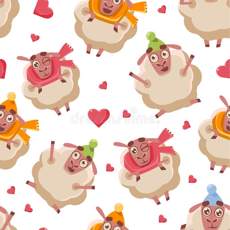 Cute Cartoon Sheep Seamless Pattern, Design Element Can Be Used for Fabric, Wallpaper, Packaging Vector Illustration stock illustration