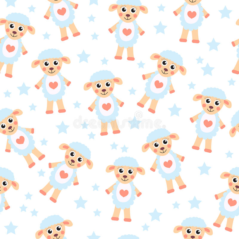 Cute cartoon sheep seamless texture children 39 s background for Children s character fabric