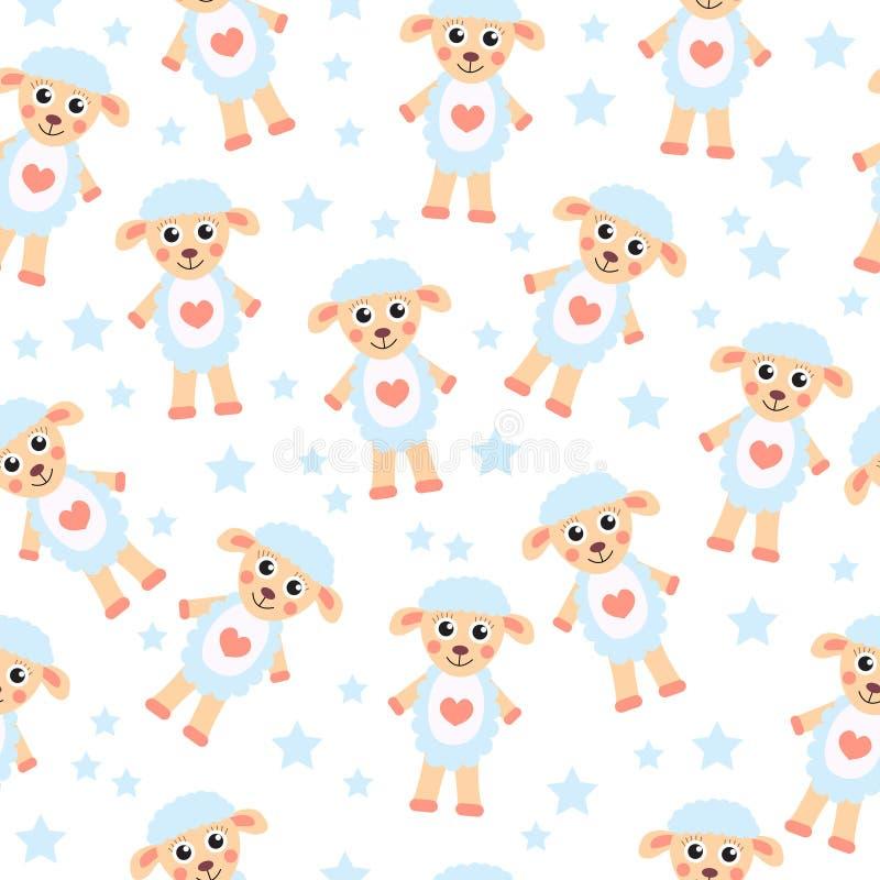 Cute cartoon sheep seamless texture children 39 s background for Children s character fabric
