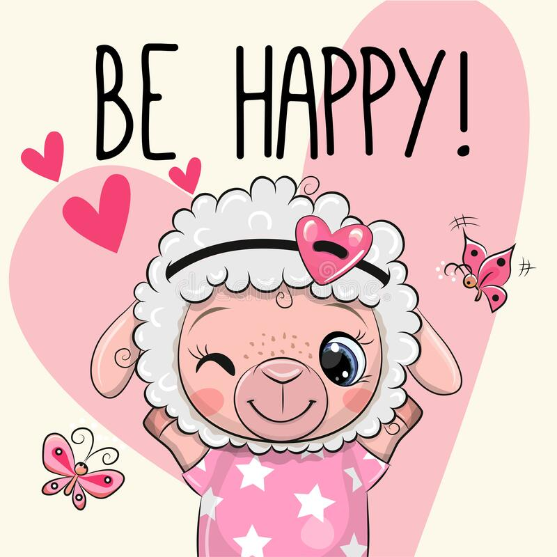 Free Cute Cartoon Sheep With Hearts Stock Photo - 173610250