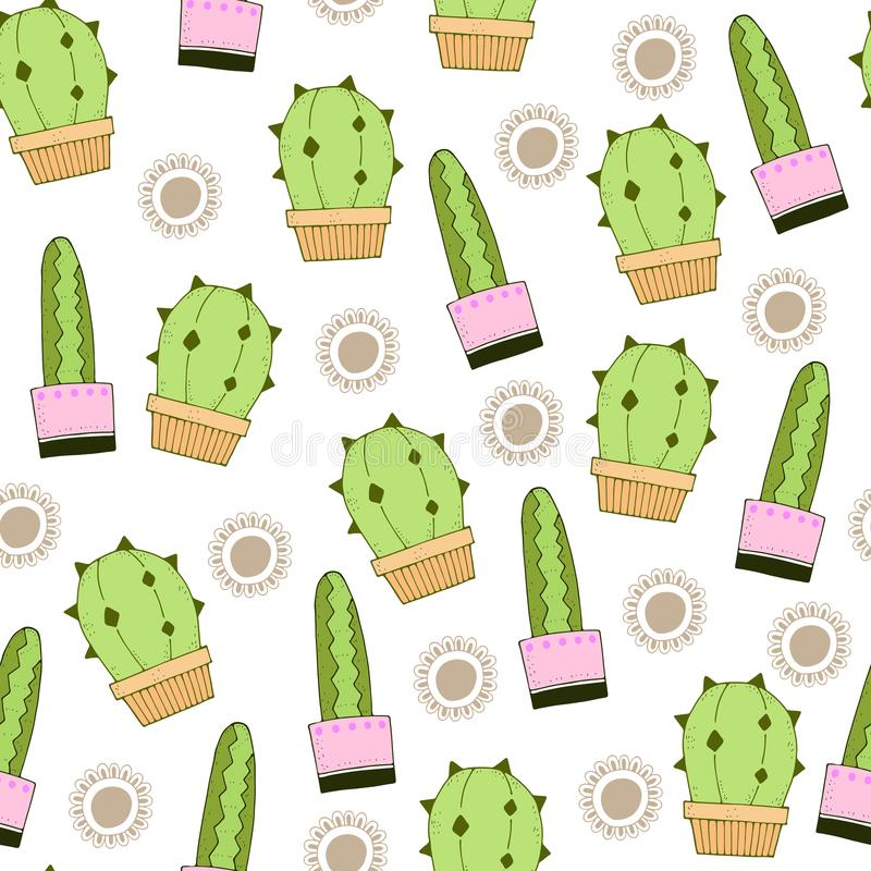 Cute cartoon simple repeating vector seamless pattern with color cacti and decorative elements. royalty free illustration