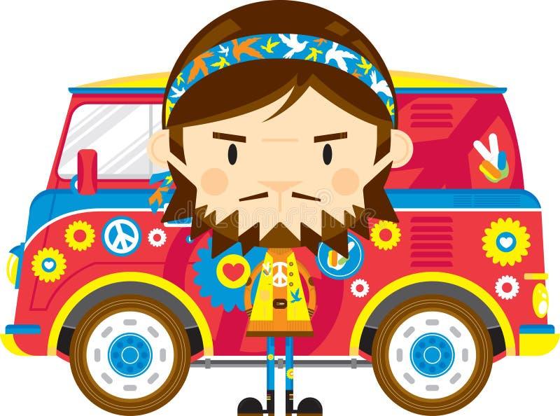 Cute Cartoon Hippie and Van. Cute Cartoon Sixties Flower Power Headband Hippie Character with Van - by Mark Murphy Creative vector illustration