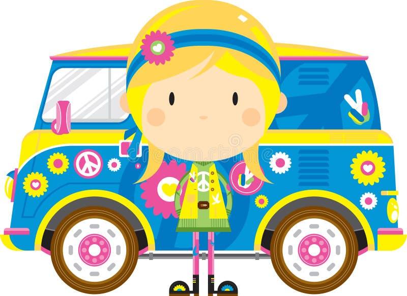 Cute Cartoon Hippie and Van. Cute Cartoon Sixties Flower Power Hippie and Retro Camper Style Van - by Mark Murphy Creative stock illustration