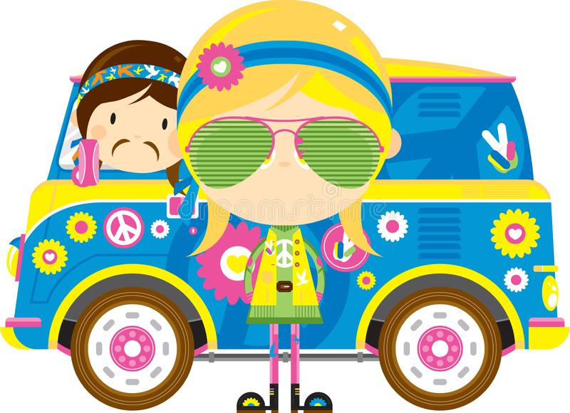 Cute Cartoon Hippies and Van. Cute Cartoon Sixties Flower Power Hippies with Retro Camper Style Van - by Mark Murphy Creative vector illustration