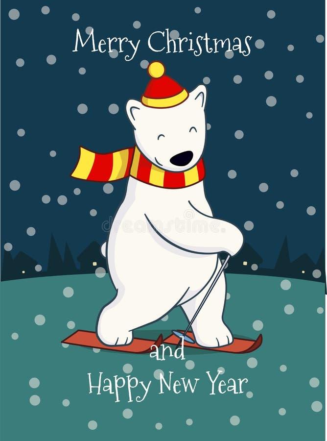 Cute cartoon skiing polar bear stock photos