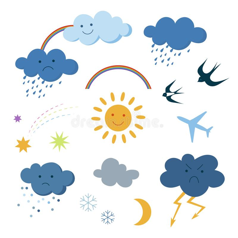 Cute cartoon sky objects weather symbols set clipart vector illustration