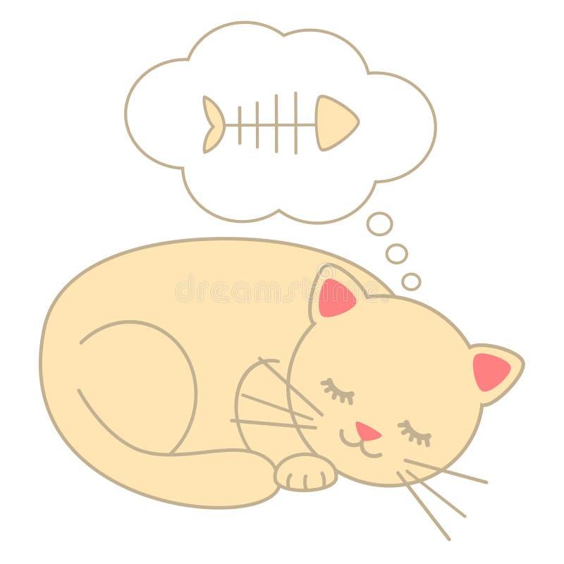 Cute cartoon sleeping cat dreaming fish bone illustration isolated on white background vector illustration