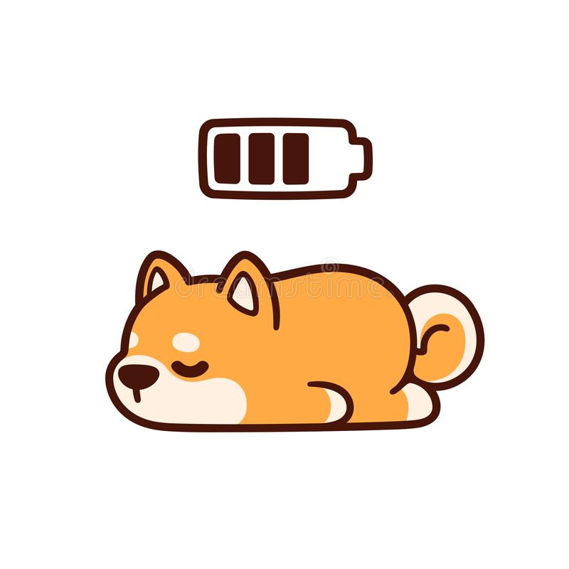 Cute cartoon sleeping dog vector illustration