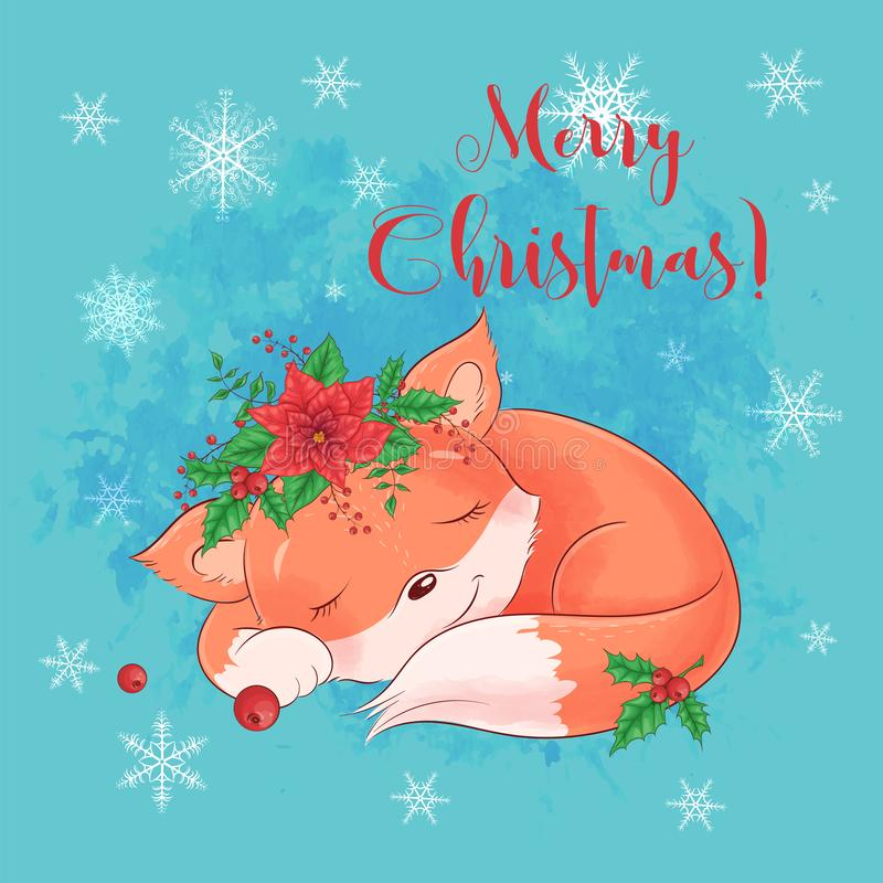 Cute cartoon sleeping fox. Greeting card for New Year and Christmas. Vector illustration vector illustration