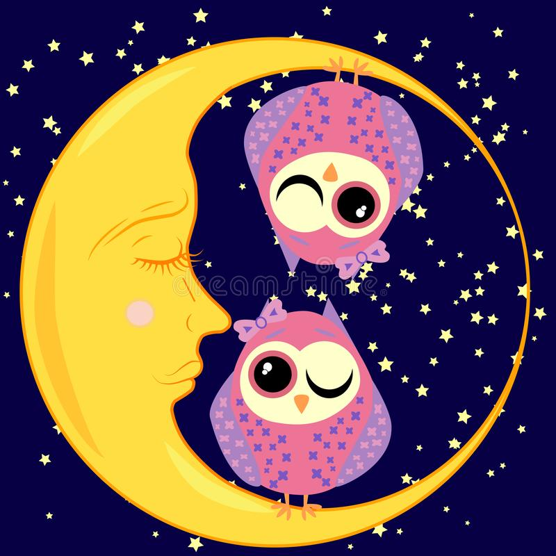 cute cartoon sleeping owl in circles with closed eyes sits on a drowsy crescent among the stars royalty free illustration