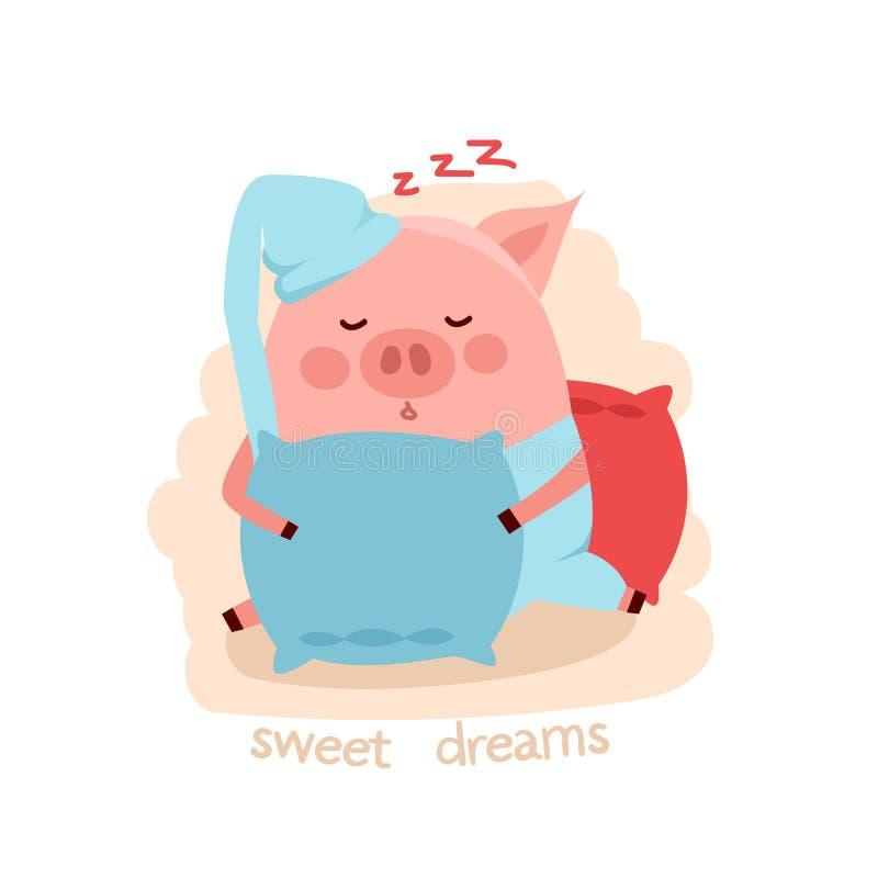 Cute cartoon sleeping pig hugging the pillow royalty free illustration