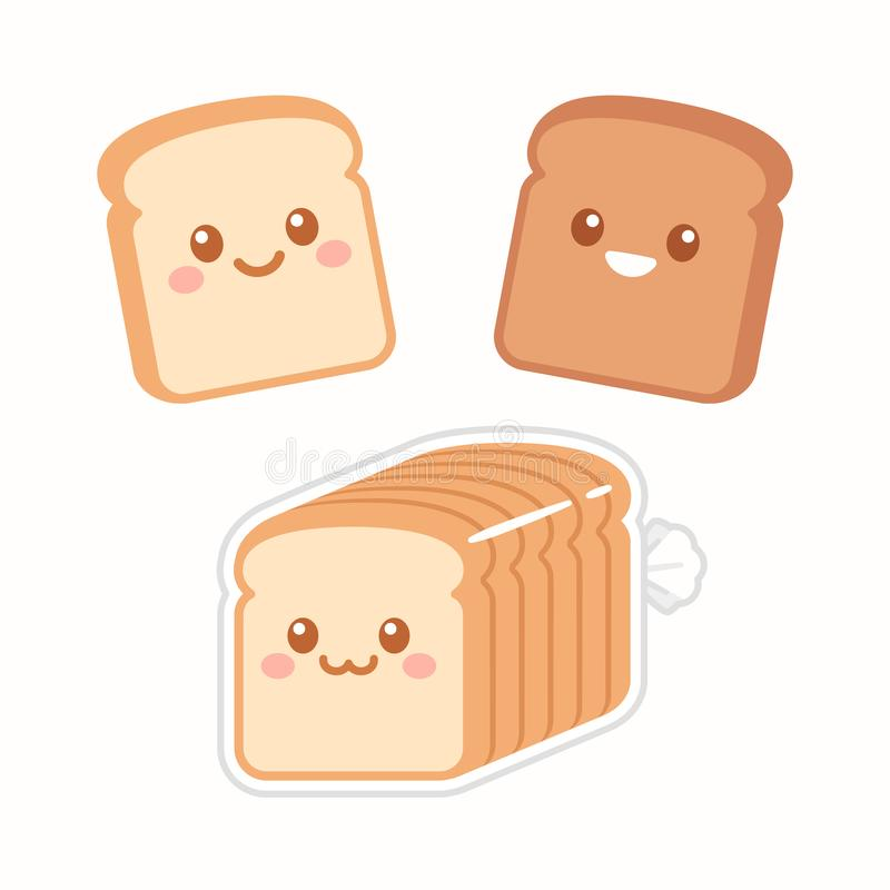 Cute cartoon slices of bread. With kawaii faces. White and brown rye toast. Simple flat vector style illustration stock illustration