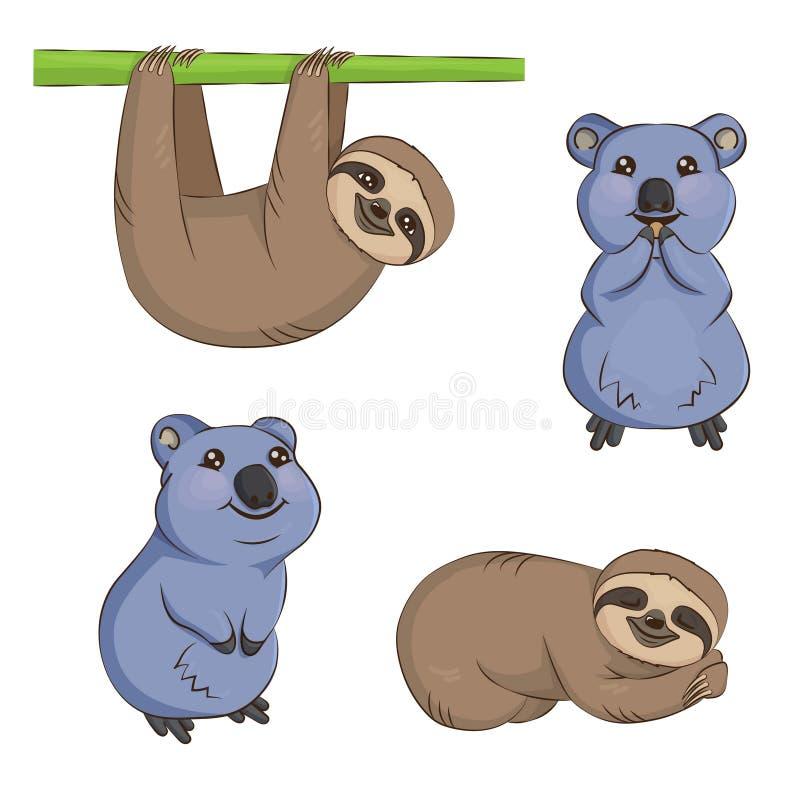 Free Cute Cartoon Sloth And Quokka Animal Set Stock Photos - 93223483