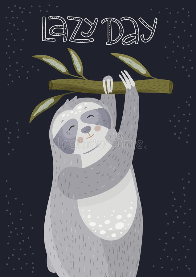 Cute cartoon sloth hanging on a branch. Vector animal illustration in a flat style. Lazy day card vector illustration