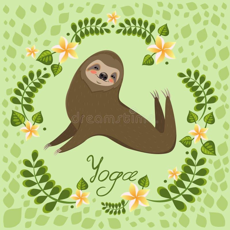 A cute cartoon sloth lies in a yoga pose. Cartoon animals vector illustration. Unique hand drawn vector illustration with sloth royalty free illustration