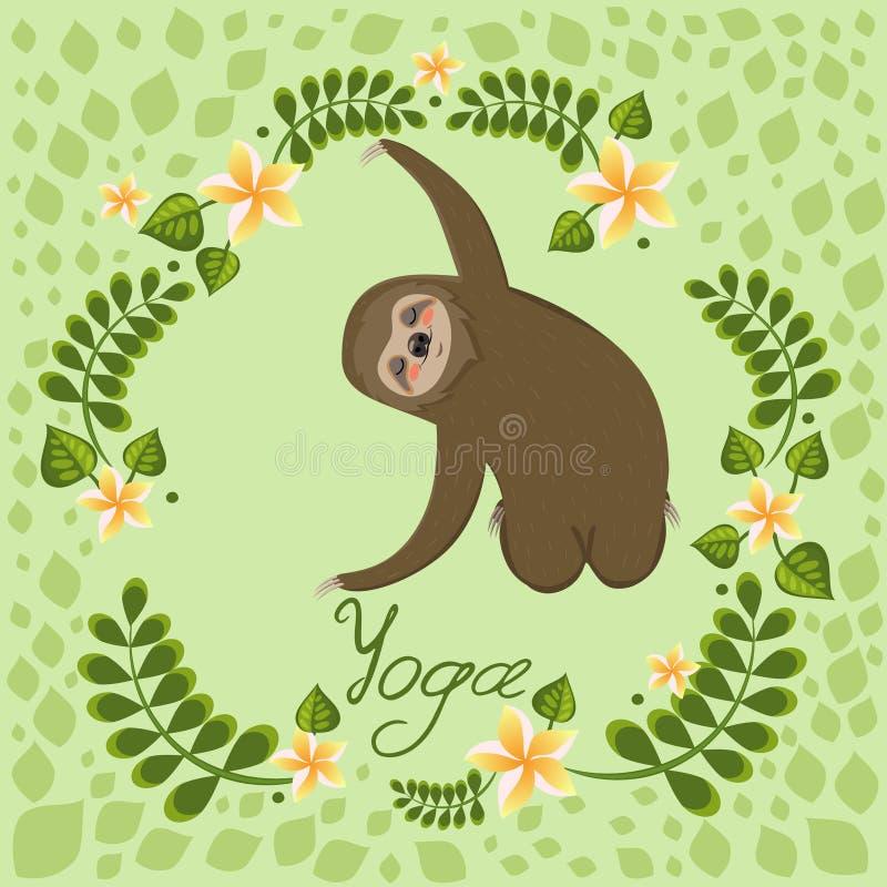 A cute cartoon sloth sitting in a yoga pose. Cartoon animals vector illustration. Unique hand drawn vector illustration with sloth. Cartoon animals vector stock illustration