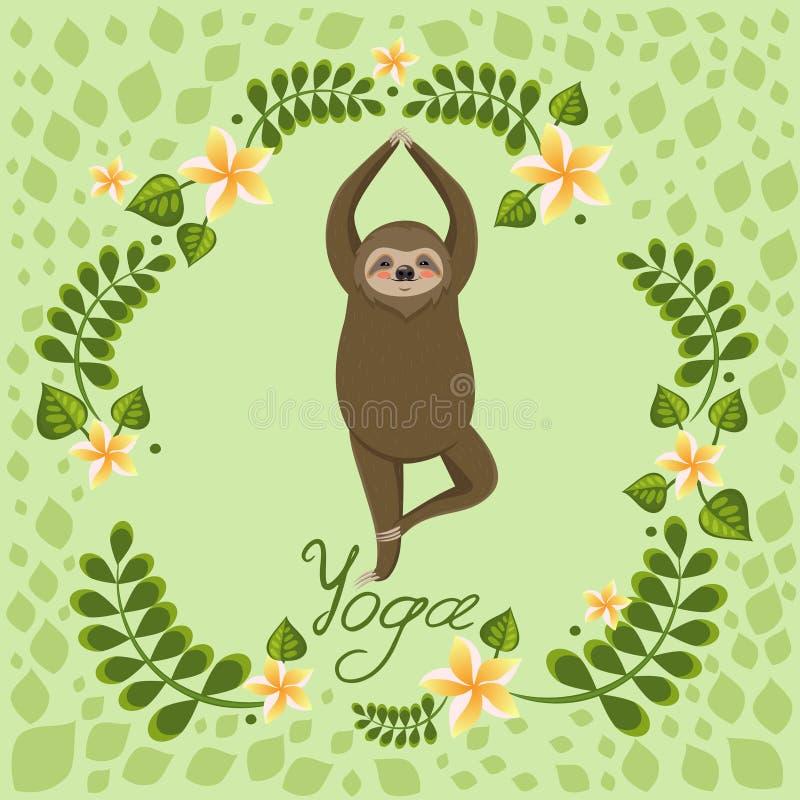 Cute cartoon sloth standing in yoga pose. Cartoon animals vector illustration. Unique hand drawn vector illustration with sloth vector illustration