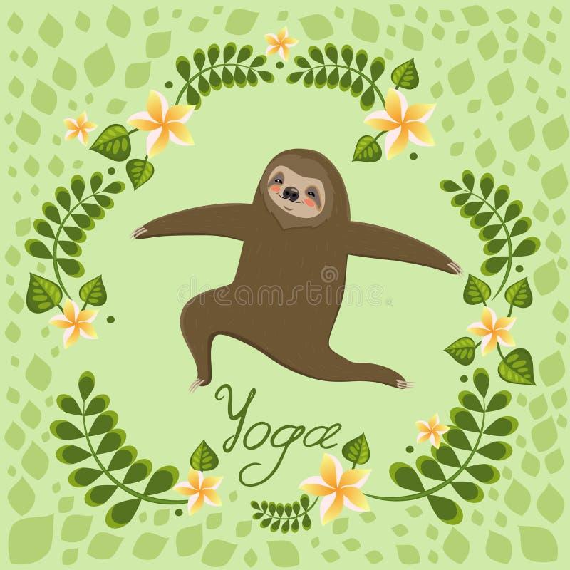 Cute cartoon sloth standing in yoga pose. Cartoon animals vector illustration. Unique hand drawn vector illustration with sloth. Cartoon animals vector stock illustration