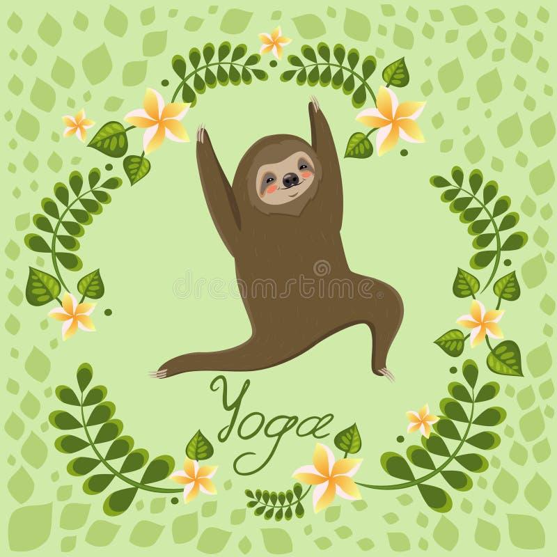 Cute cartoon sloth standing in yoga pose. Cartoon animals vector illustration. Unique hand drawn vector illustration with sloth royalty free illustration