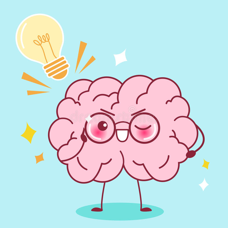 Cute cartoon smart brain royalty free illustration