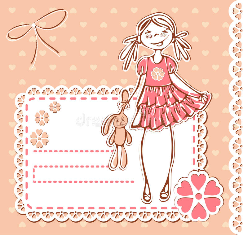 Download Cute Cartoon Smile Happy Baby Girl Frame Stock Vector - Illustration of background, beauty: 20994992