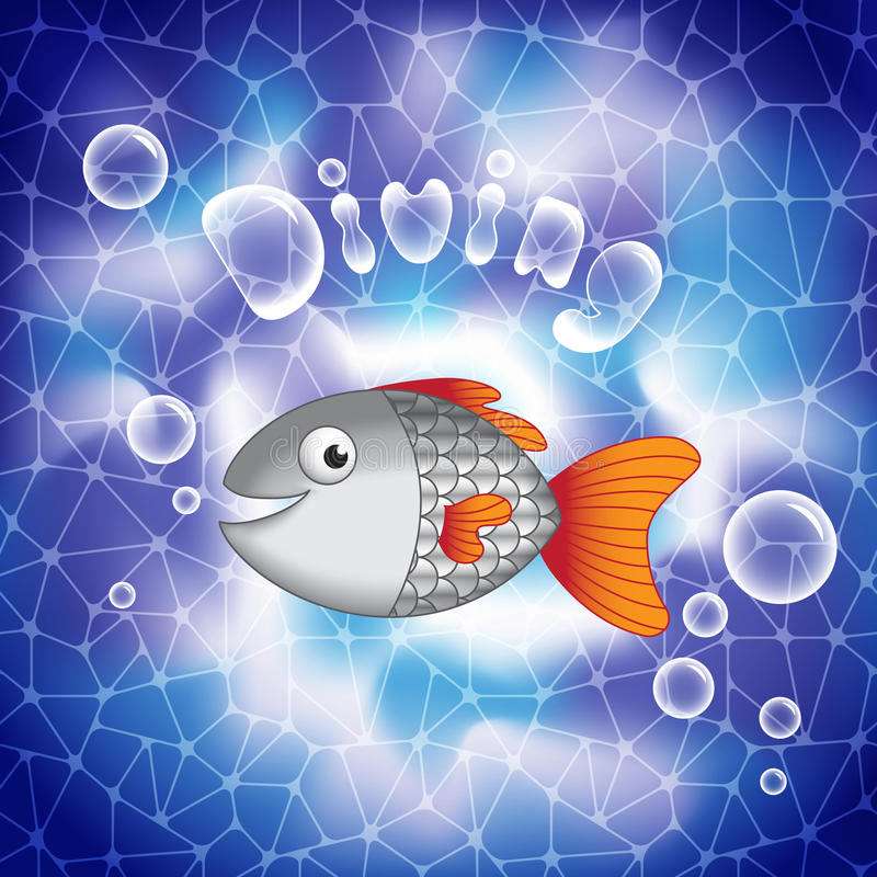 Cute cartoon smiling fish in deep sea waters. royalty free illustration